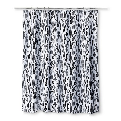 Cactus Shower Curtain Black - Room Essentials™