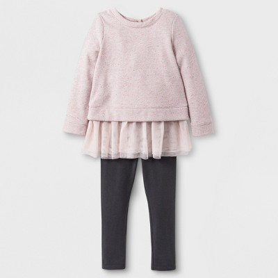 Toddler Girls' Solid Glitter Tulle Top and Bottom Set - Cat & Jack™ Pink/Dark Gray 12M