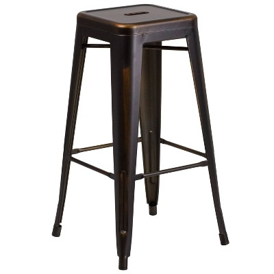 Distressed Copper Metal Barstool Copper - Riverstone Furniture Collection
