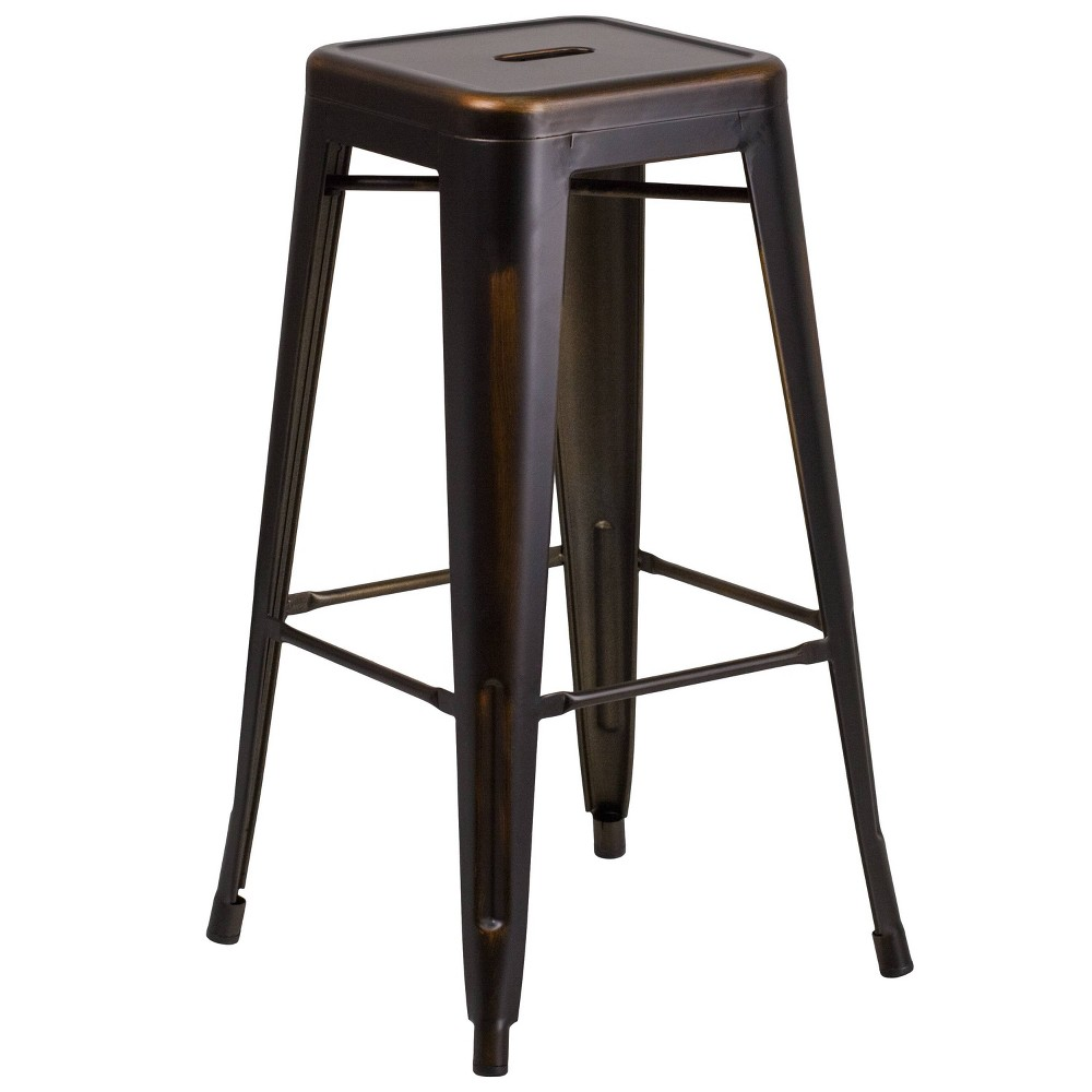 Riverstone Furniture Collection Distressed Copper Metal Stool Copper