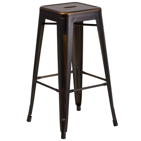 Riverstone Furniture Collection Distressed Copper Metal Stool Copper - image 1 of 3