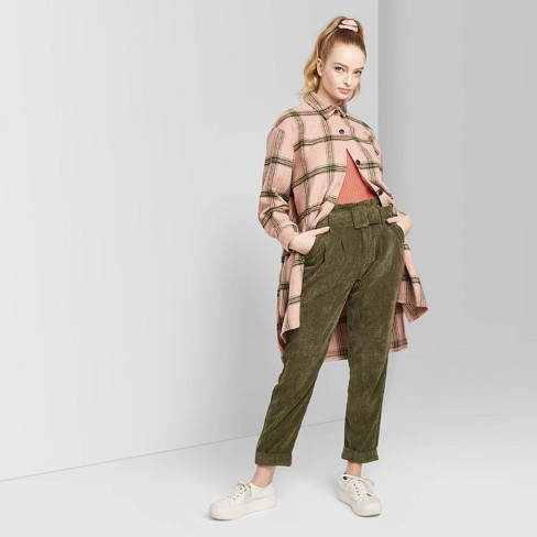 Women's Plaid Long Sleeve Oversized Flannel Button-Down Shirt - Wild Fable™ Pink  - image 1 of 3