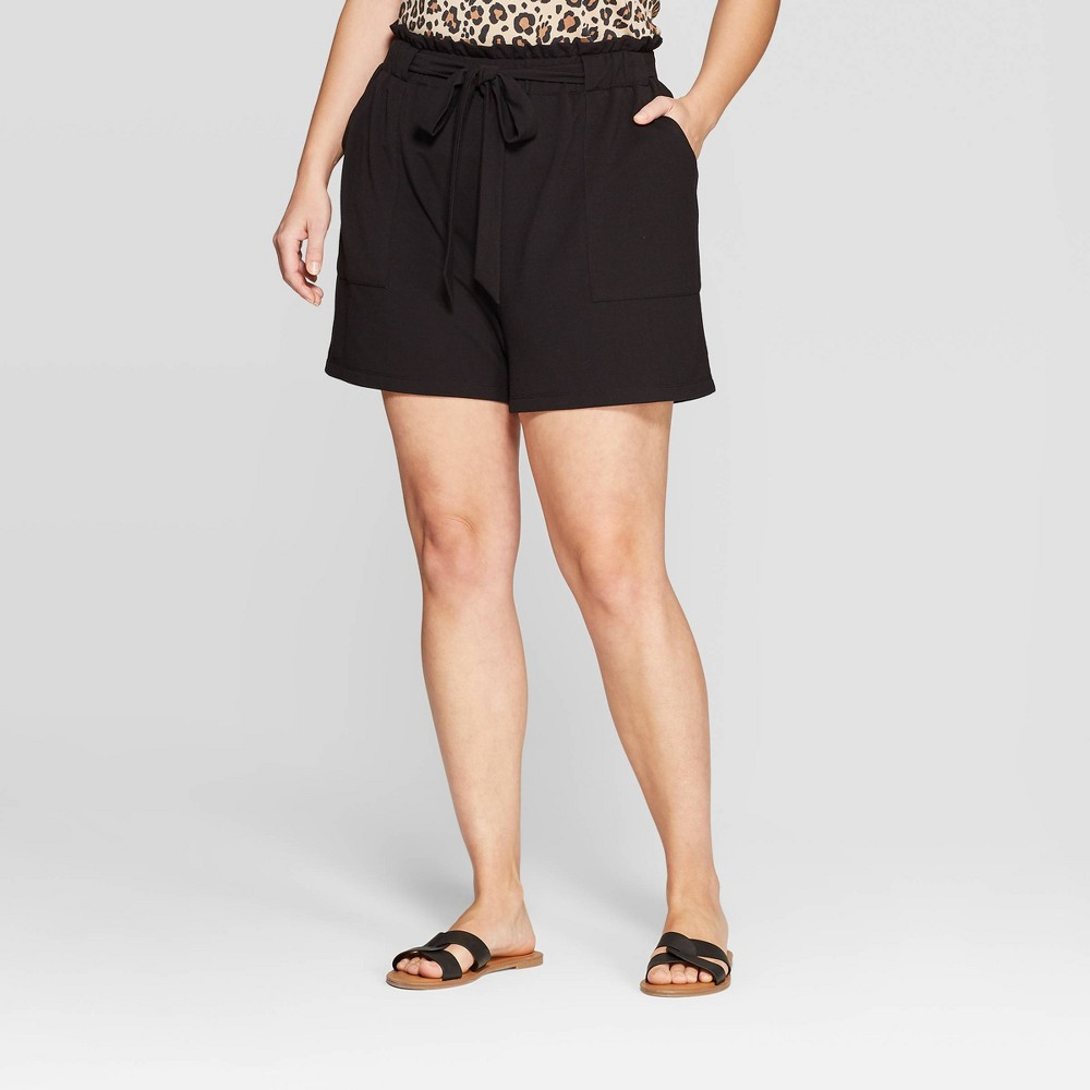 fa6205a782afd Womens Plus Size Paper Bag Knit Shorts Ava Viv Black 4X