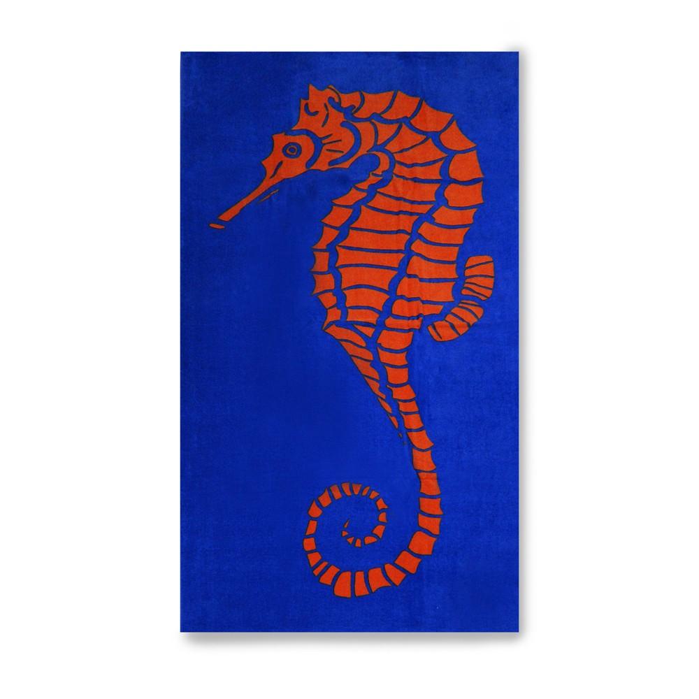 Seahorse Beach Towel Blue Marker
