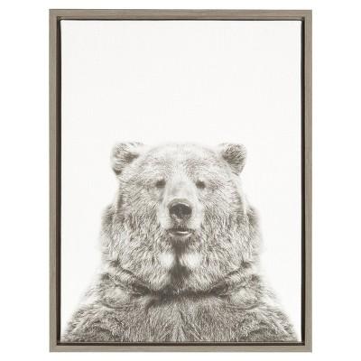 Bear Framed Canvas Art Gray (24 x18 )- Uniek