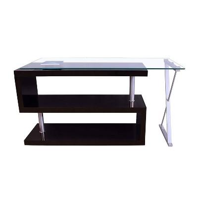 Writing Desk with Swivel Clear Glass/Black - Benzara