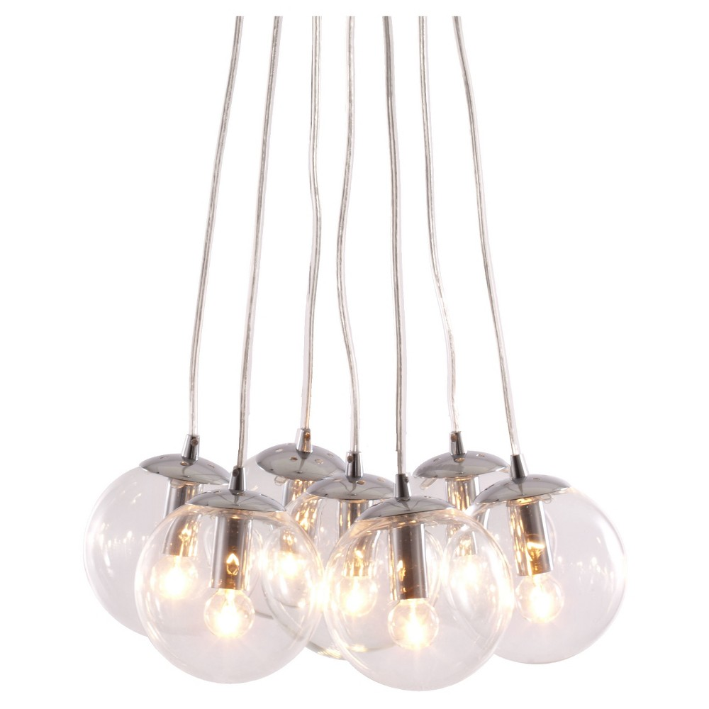 Modern 7-Strand Glass and Chrome Ceiling Lamp - ZM Home, Clear