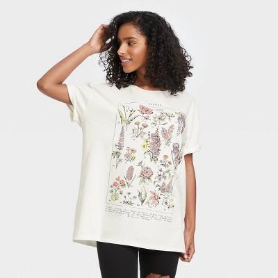 Women's Botanical Short Sleeve Oversized Graphic T-Shirt - White
