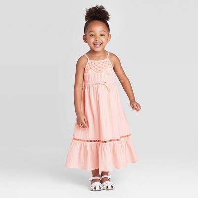Toddler Girls' Embroidered Maxi Dress with Shine - Cat & Jack™ Pink 4T