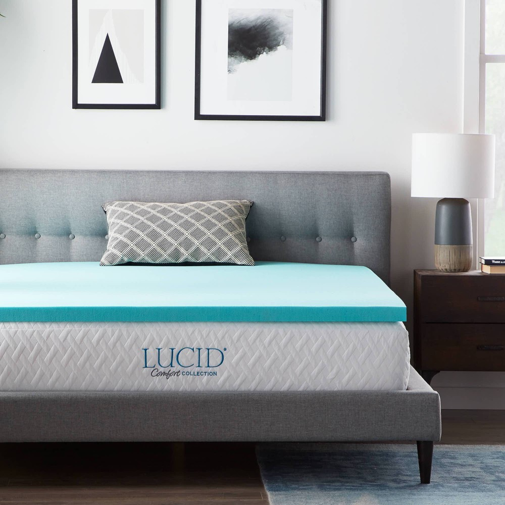 Twin XL Comfort Collection 2 SureCool Gel Infused Memory Foam Mattress Topper - Lucid Reviews