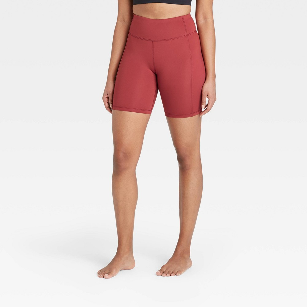 Women 39 S Contour Power Waist High Waisted Shorts 7 34 All In Motion 8482 Cranberry M