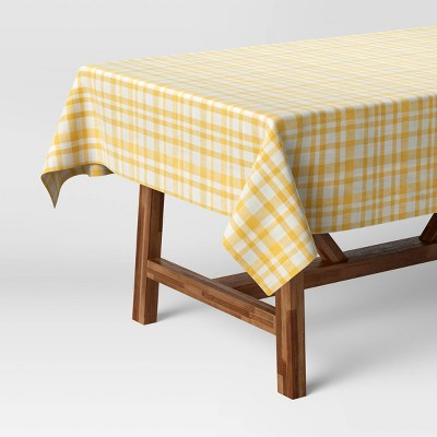 "104"" x 60"" Cotton Gingham Tablecloth Yellow - Threshold™"