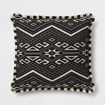 Fringed Jacquard Euro Pillow Black - Opalhouse™