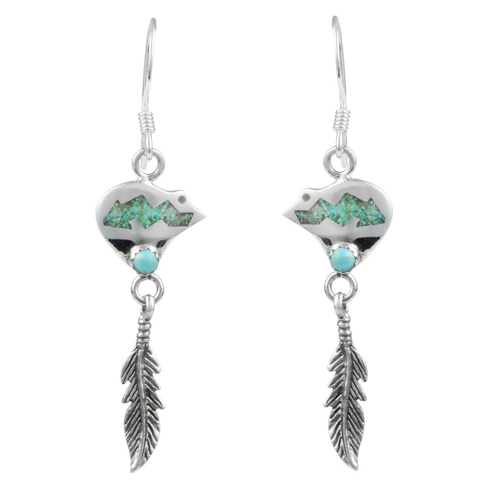1/3 CT. T.W. Fancy-cut Turquoise Inlaid Set Feather Dangle Earrings in Sterling Silver - Silver, Girl's