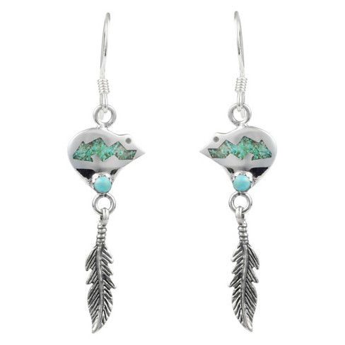 1/3 CT. T.W. Fancy-cut Turquoise Inlaid Set Feather Dangle Earrings in Sterling Silver - Silver - image 1 of 2