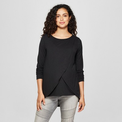 Maternity Long Sleeve Cross-Panel Nursing Top - Isabel Maternity by Ingrid & Isabel™ Black L