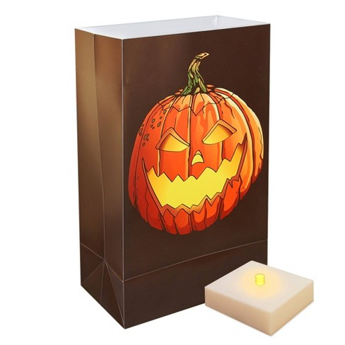 6ct Battery Operated Luminaria Kit- with Timer - Jack O' LED Lantern - image 1 of 3