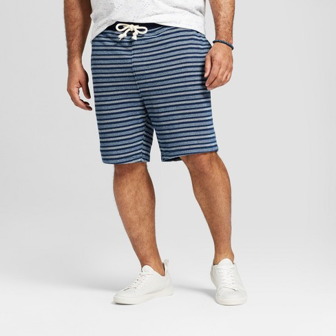 Men's Big & Tall Striped Knit Lounge Shorts - Goodfellow & Co™ Indigo Stripe - image 1 of 3