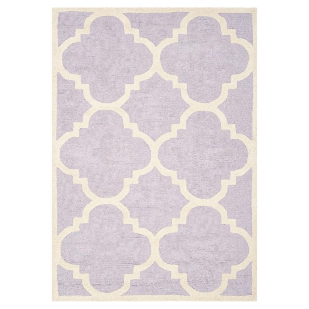 Landon Texture Wool Rug - Lavender / Ivory (4' X 6') - Safavieh, Purple/Ivory