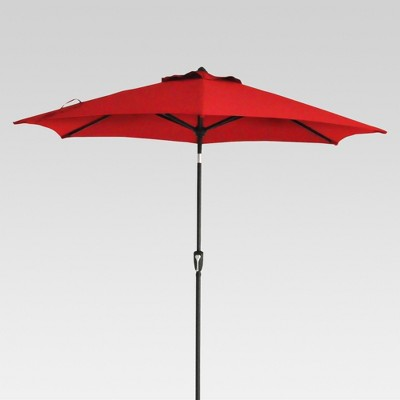 9' Round Patio Umbrella - Red - Black Pole - Threshold™