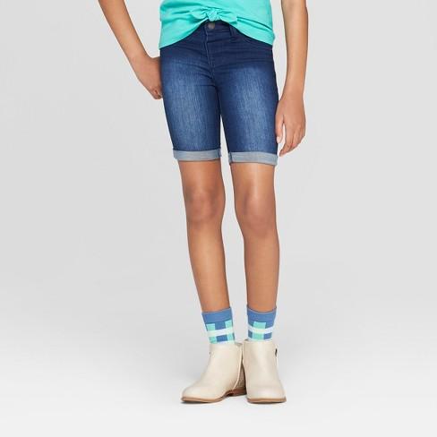 7d34bc7b28 Girls' Jeggings Bermuda Jean Shorts - Cat & Jack™ Dark Wash : Target