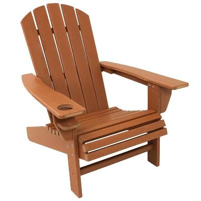 Sunnydaze Plastic All-Weather Heavy-Duty Outdoor Adirondack Patio Chair with Drink Holder, Brown