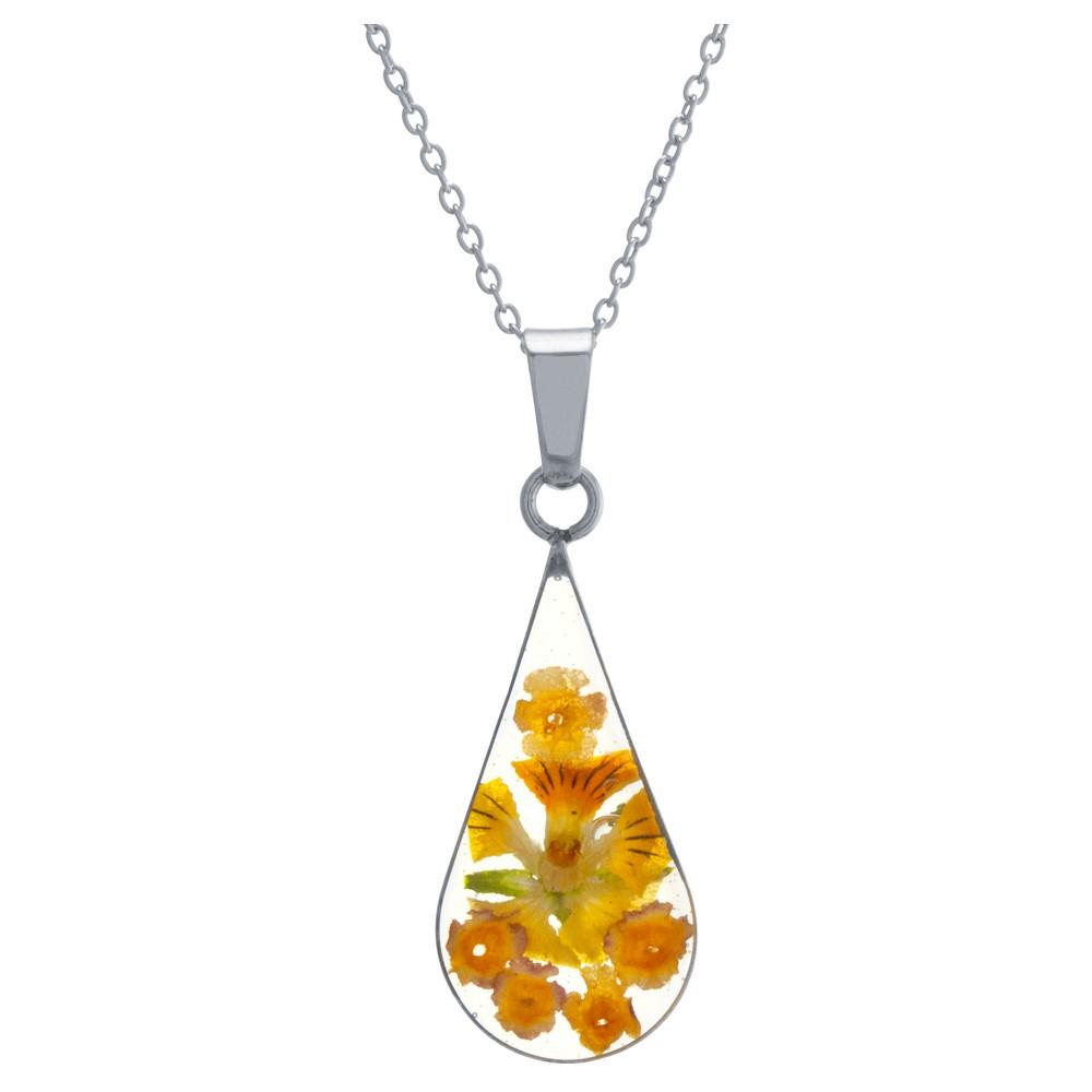 Women's Sterling Silver Yellow Pressed Flowers Teardrop Pendant (18)