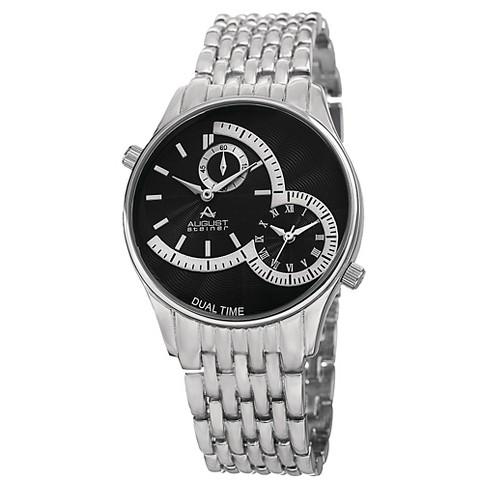 4309e3e481a05 Men s August Steiner Quartz Dual Time Bracelet Watch - Silver Black   Target
