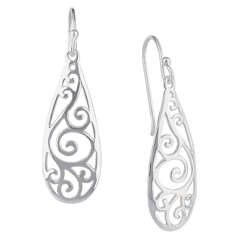 Women's Drop Dangle Earring Sterling Silver Teardrop with Filigree Detail - Silver - image 1 of 1
