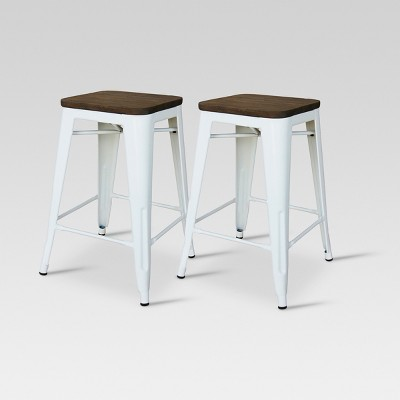 "Set of 2 24"" Hampden Industrial Counter Height Barstool White - Threshold™"
