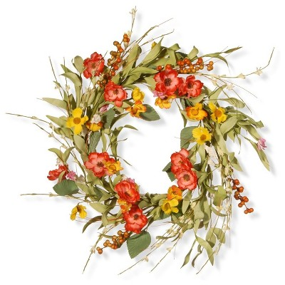 """Artificial Spring Flower Wreath Red 22"""" - National Tree Company"""