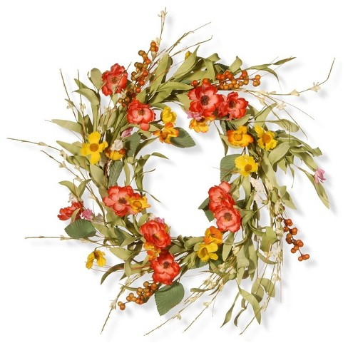 Artificial Spring Flower Wreath Red 22 National Tree Company