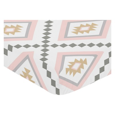 Sweet Jojo Designs Fitted Crib Sheet - Aztec Print - Pink