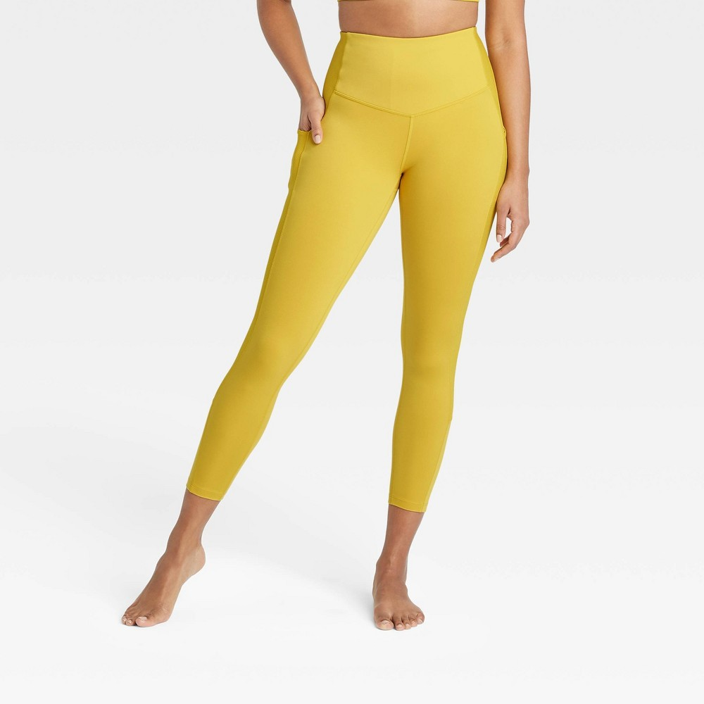 Women 39 S Contour Flex High Waisted Ribbed 7 8 Leggings 24 5 34 All In Motion 8482 Antique Gold L