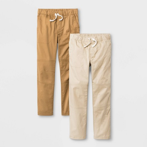 Boys' 2pk Stretch Straight Fit Pull-On Woven Pants - Cat & Jack™ Brown/Beige - image 1 of 2