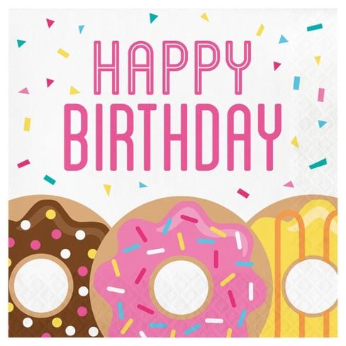16ct Donut Time Birthday Napkins : Target