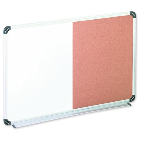 Universal® Cork/Dry Erase Board, Melamine, 36 x 24, Black/Gray ...