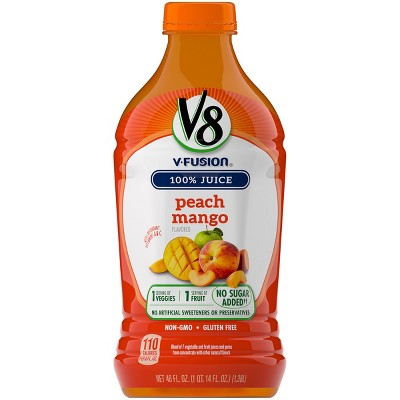 V8 V-Fusion Peach Mango Fruit & Vegetable Juice - 46 fl oz Bottle
