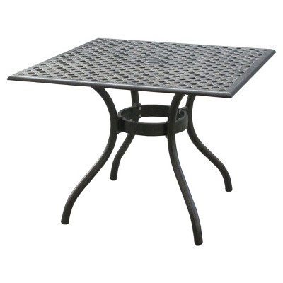 Cayman Square Cast Aluminum Table - Black Sand - Christopher Knight Home