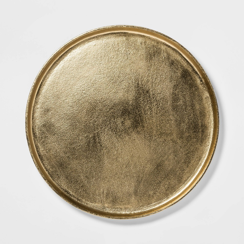 "Image of ""17.6"""" Brass Round Tray Gold - Threshold"""