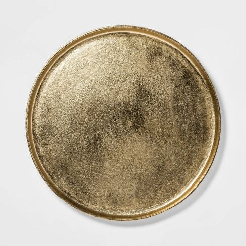 "17.6"" Brass Round Tray Gold - Threshold™ - image 1 of 4"