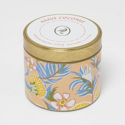 4oz Mini Patterned Tin Agave Coconut Candle - Opalhouse™
