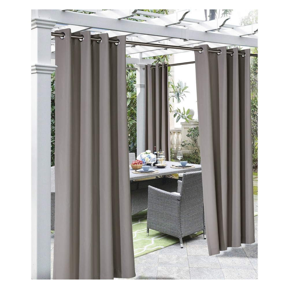 """Image of """"50""""""""x108"""""""" Coastal Grommet Top Blackout Curtain Panel Taupe - Outdoor Décor, Size: 50x108, Brown"""""""