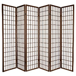 6 ft. Tall Window Pane Shoji Screen - Walnut (6 Panels)