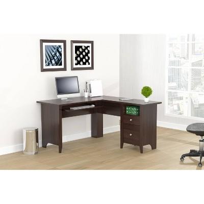 L Shaped Computer Writing Desk Espresso - Inval
