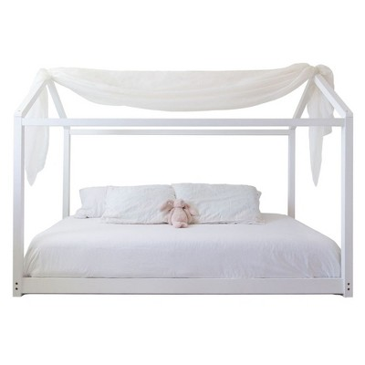 Mindful Living Durable Beautiful High Quality Wooden Twin Sized House Bed Frame and Easy to Assemble Canopy for Children and Teens, White