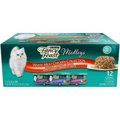 Purina Fancy Feast Variety Pack Elegant Medleys White Meat Chicken Recipe Wet Cat Food - 3oz/12ct