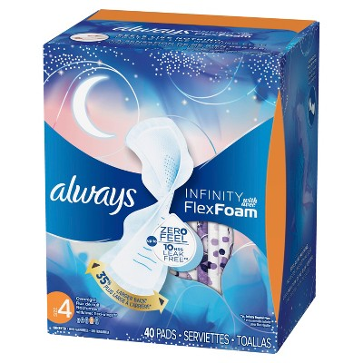 Always Infinity Overnight with Wings Pads - 40ct