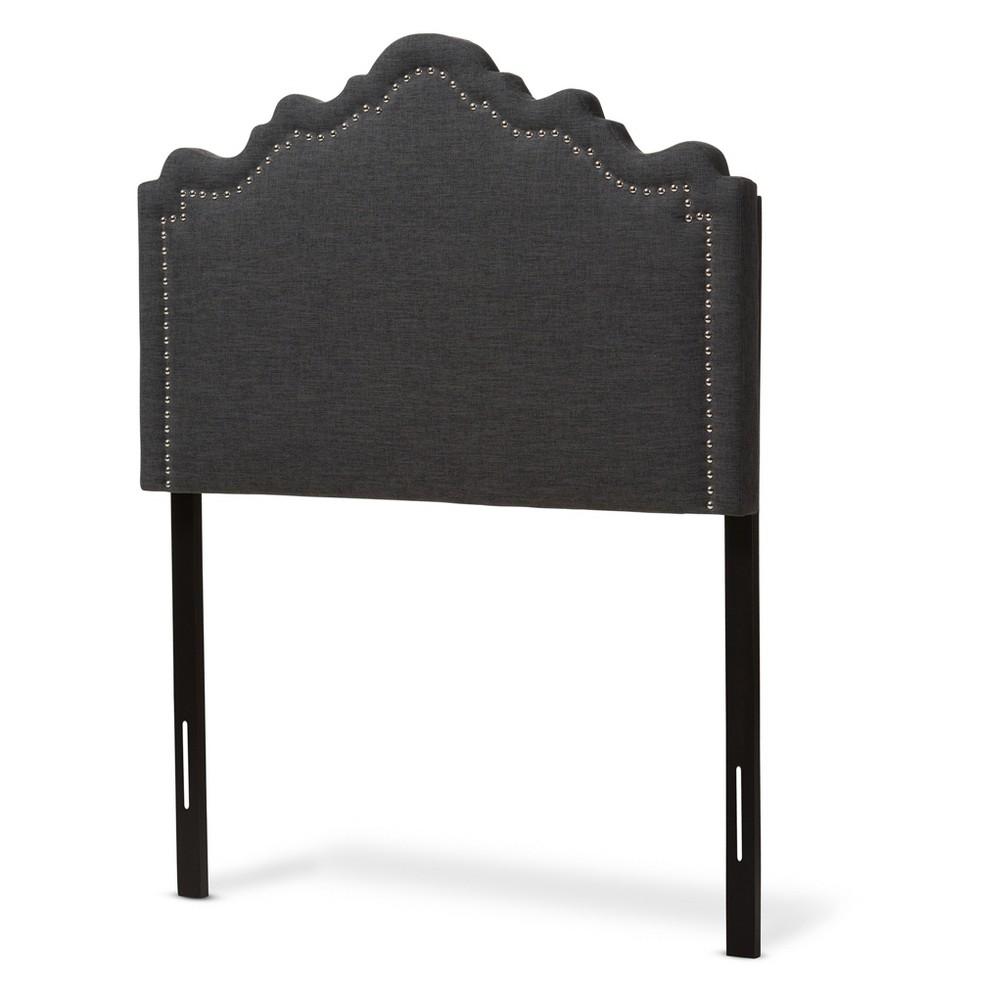 Nadeen Modern and Contemporary Fabric Headboard - Queen - Dark Gray - Baxton Studio