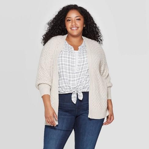 Women's Plus Size Long Sleeve Honeycomb Open Layering Cardigan - Universal Thread™ - image 1 of 3